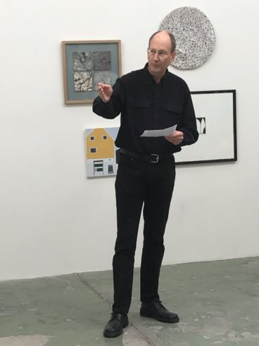 Glen Farley holds opening speech at Bærum exhibition 2019