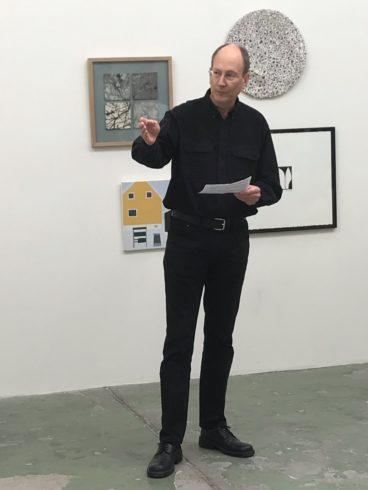 Glen Farley holds opening speech at Bærum exhibition 2019